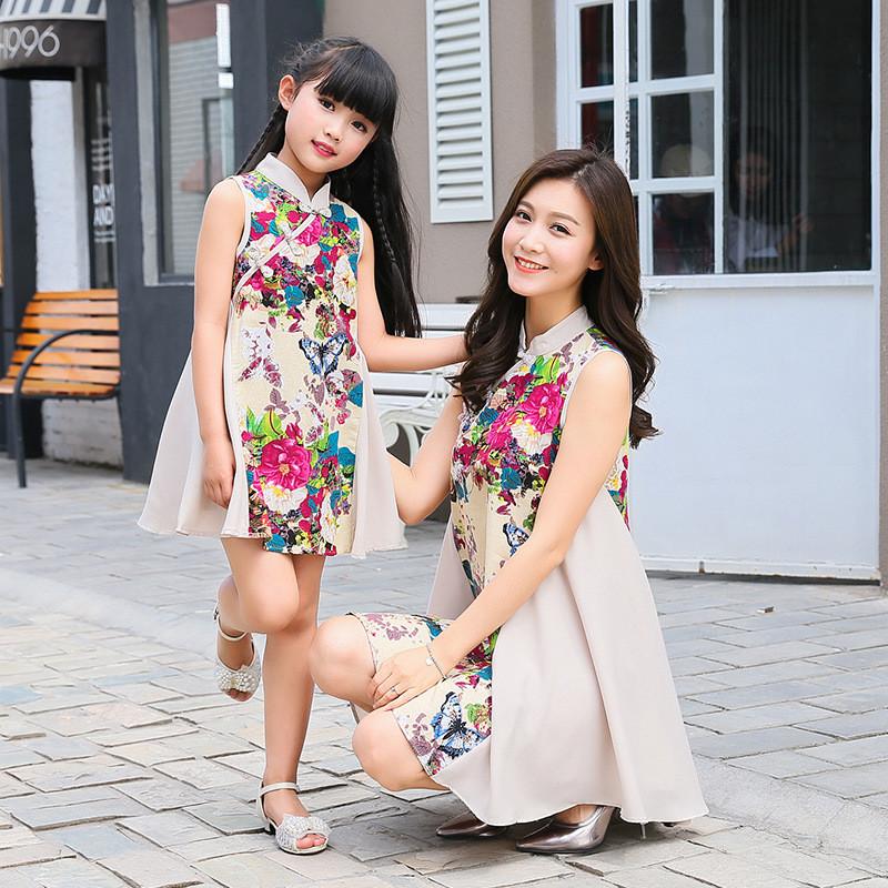 蔚缇女童旗袍母女新款宝宝唐装连衣裙儿童春装小孩衣服