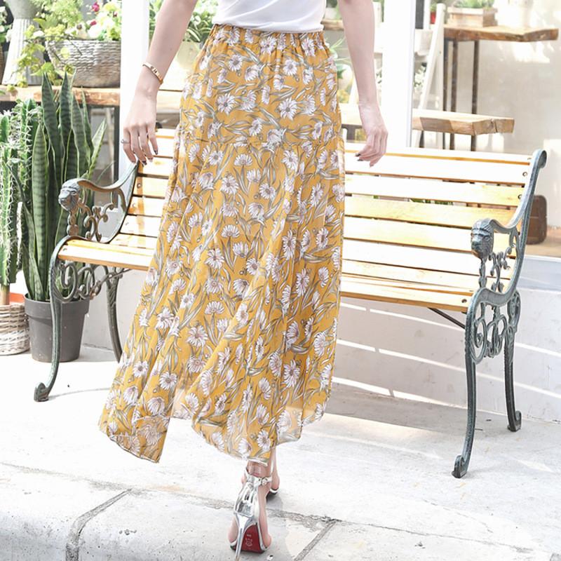 蔚缇夏新款雪纺印花大摆半身裙一片式