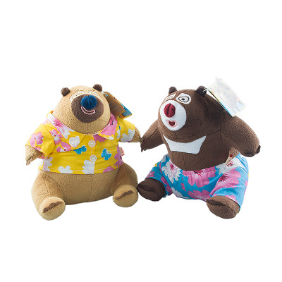 bears/熊出没 熊大 熊二 q版沙滩夏威夷装 毛绒公仔 穿衣玩偶 可爱