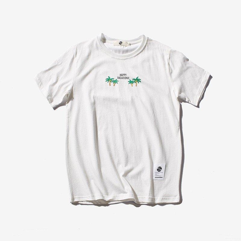 艾斯六佰 【平铺】夏季新款纯棉胸口小树叶 男士印花短袖大码t恤男