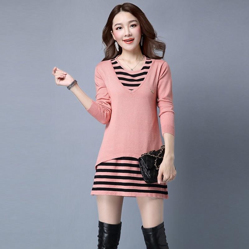 a2016秋季新款女士条纹针织连衣裙 宽松针织套头毛衣两件套 气质优雅