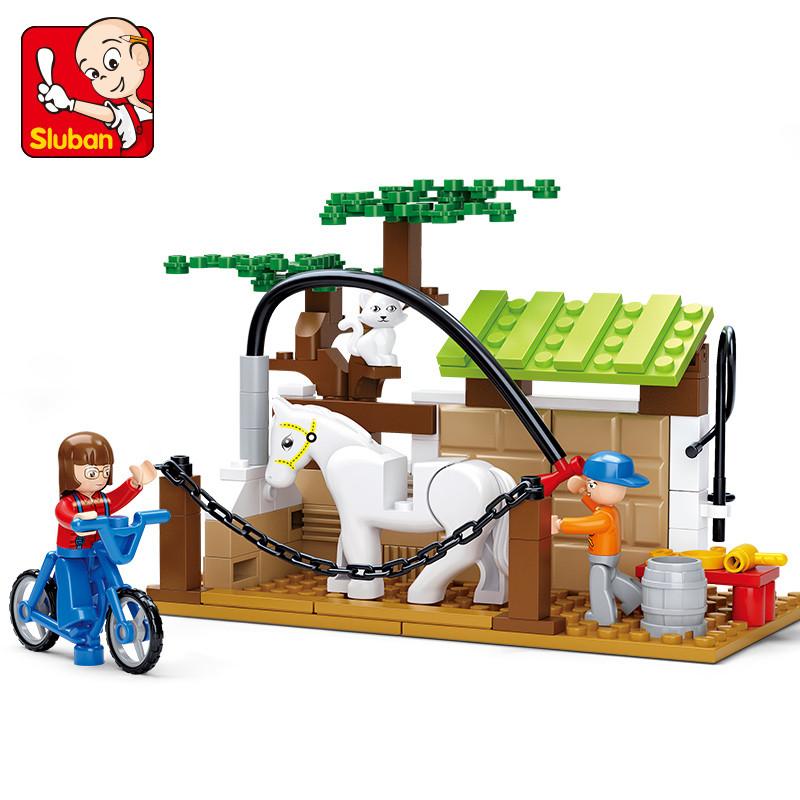 快乐小鲁班拼装积木小颗粒益智拼插玩具阳光牧场系列马护理站