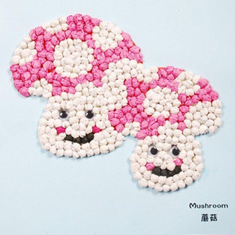 众慧宝 手揉纸搓纸画儿童手工制作材料包diy创意粘贴画智力玩具 蘑菇