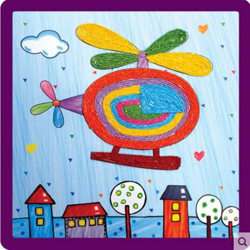 紙繩畫 兒童手工制作材料 幼兒園粘貼畫 繩子藝術玩具