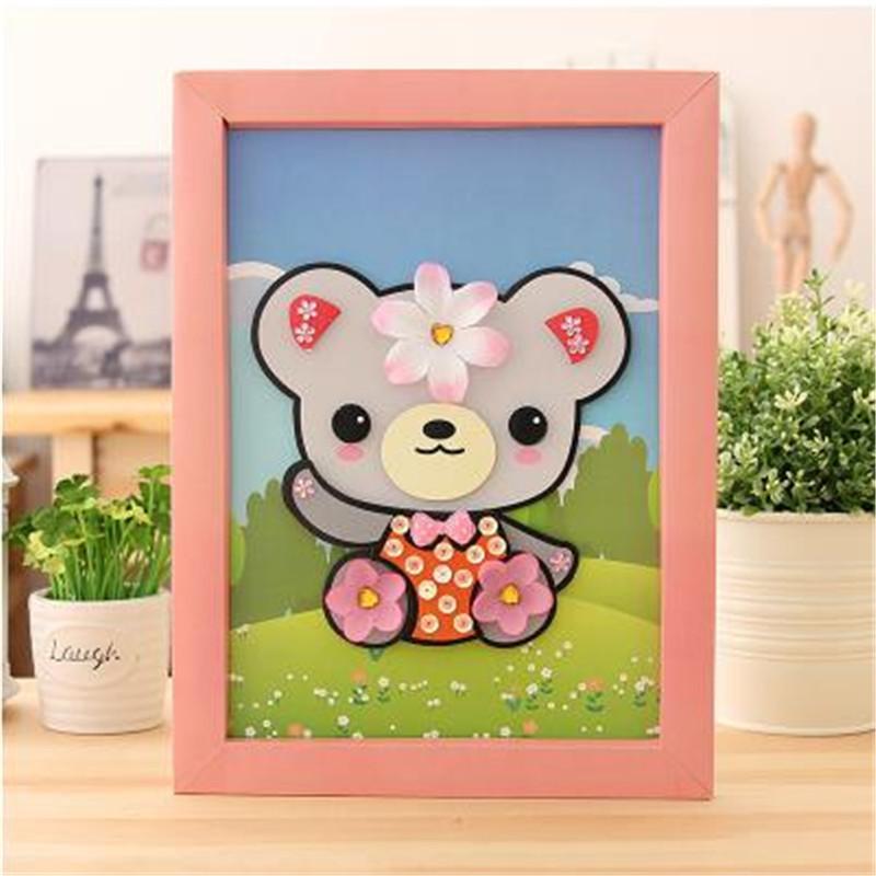 动物卡通贴画 儿童手工小羊创意制作立体贴相框拼图 小熊熊