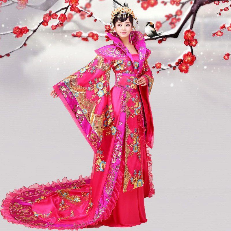 古装皇后服装拖尾贵妃汉服唐朝公主古代仙女裙新款古筝舞台演出服