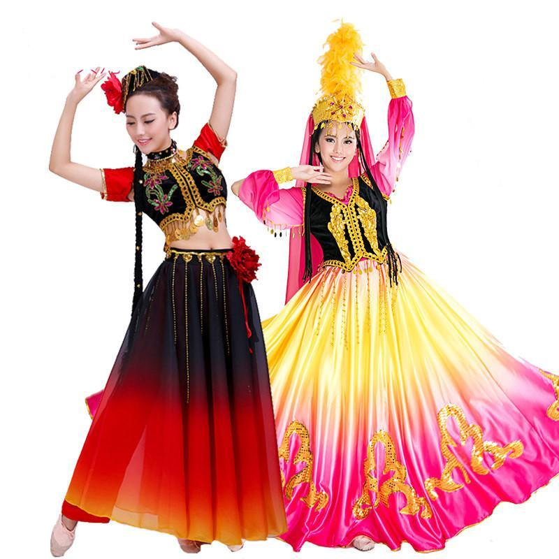 新疆维吾尔族舞蹈服装民族表演漏肚舞台装演出服