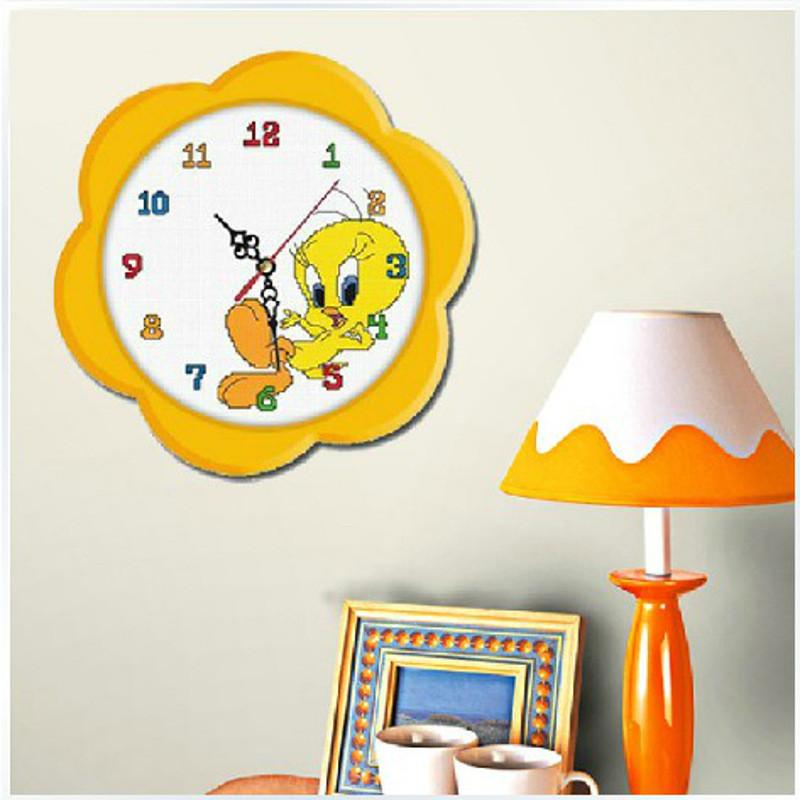 印花闹钟十字绣钟表翠儿 卧室餐厅儿童房间十字绣小鸭子新款画图案