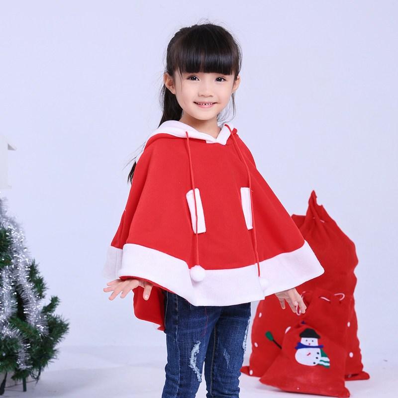 圣诞节儿童斗篷演出服装幼儿园圣诞老人装扮表演服男女童圣诞披风