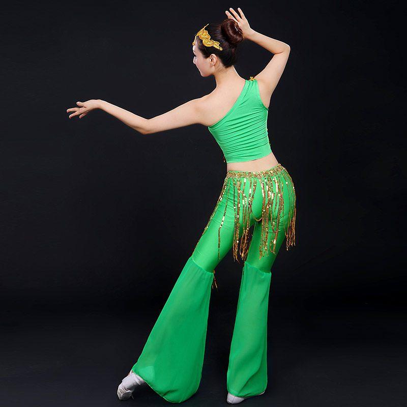 新款女流苏成人亮片舞舞蹈民族舞演出服情趣独舞傣族古典舞现代舞av服装制服thunder图片