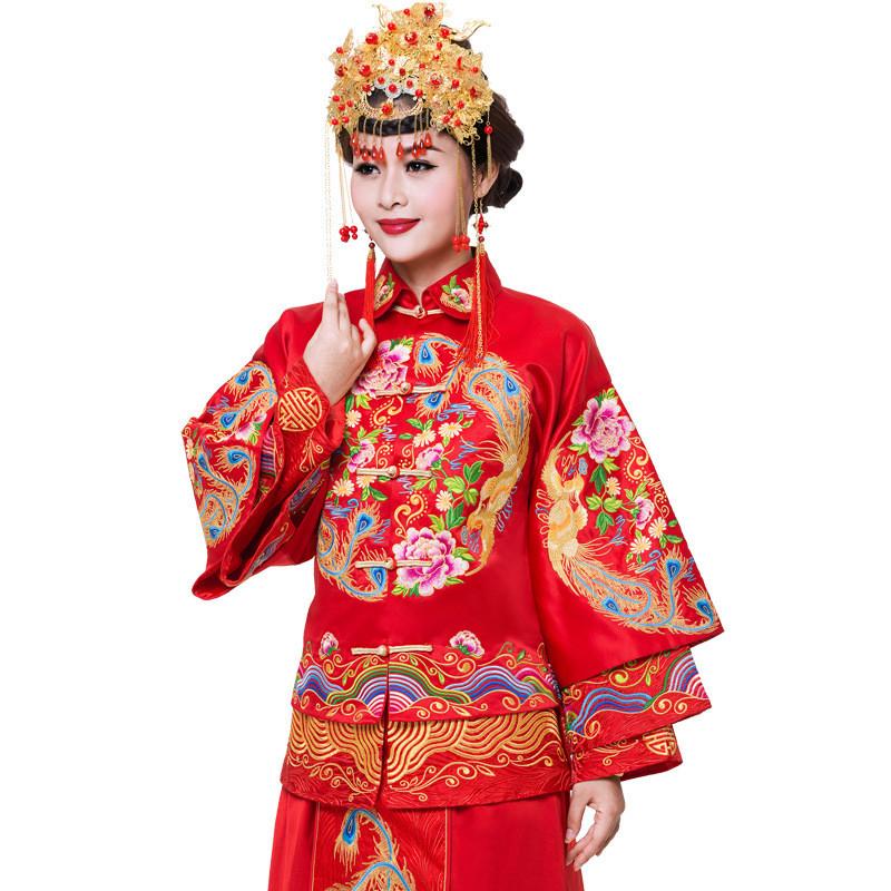 刺绣秀禾服新娘礼服中式结婚古装嫁衣喜服敬酒翻领图片