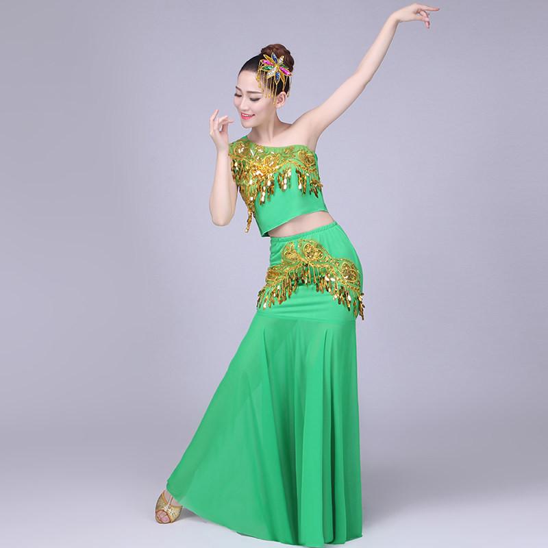 新款成人傣族舞蹈演出服装儿童肚皮舞孔雀舞蹈演出服女长款鱼尾裙