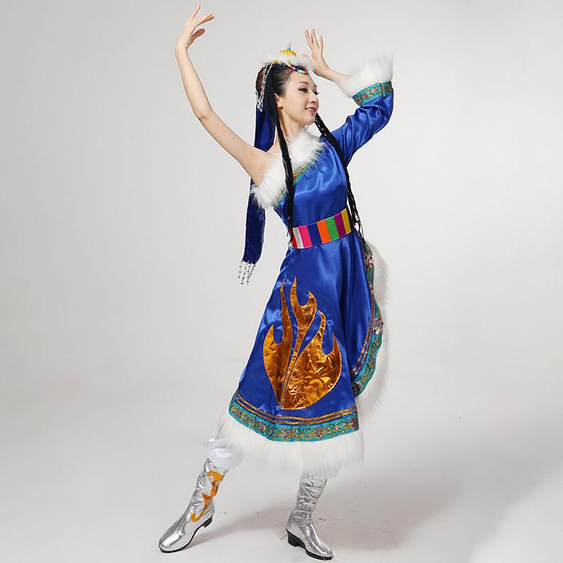 新款女装藏族舞蹈服装单肩单袖演出服演出服装民族舞蹈广场舞水袖