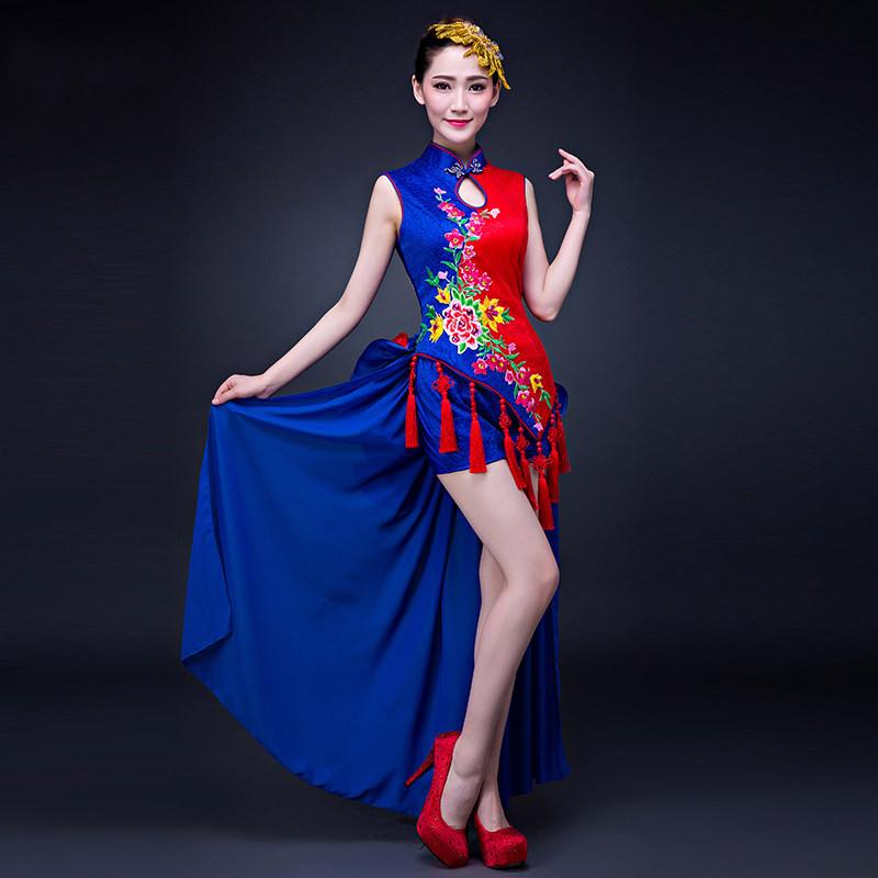 中国风民族舞扇子舞古筝现代舞古典舞蹈演出服装旗袍表演服打鼓服