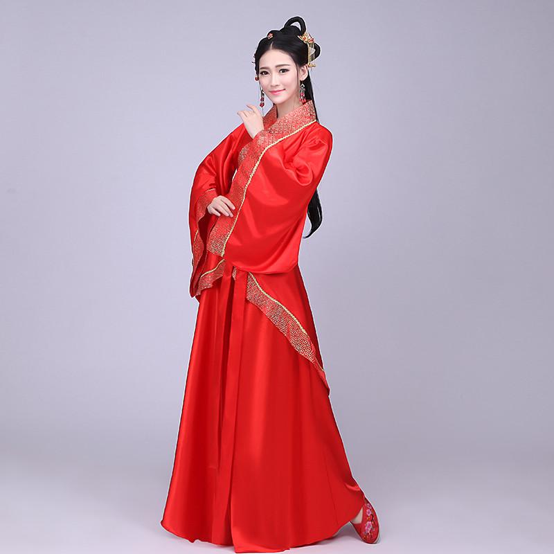 古裝漢服唐裝改良曲裙服裝仙女公主紅色漢服襦裙古裝攝影寫真