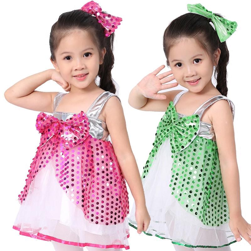 六一儿童节演出服幼儿园舞蹈服装女表演服亮片裙爵士舞蓬蓬裙