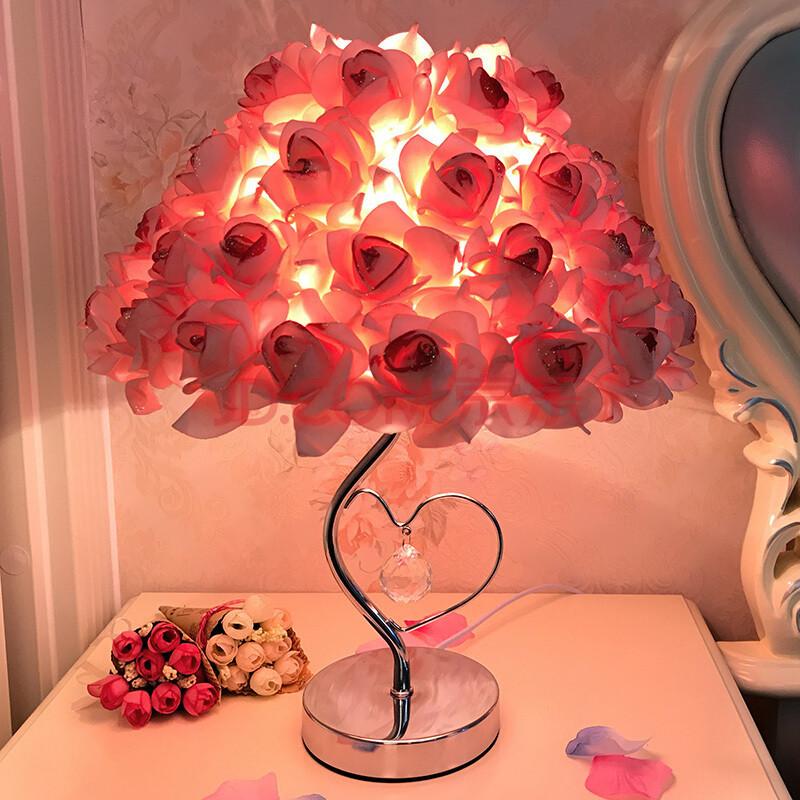 玫瑰花结婚纪念日礼物装饰水晶台灯卧室婚庆婚房创意温馨床头灯