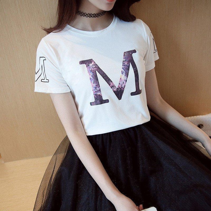 韩雪青青2016女装夏季字母印花短袖t恤女韩国学生宽松显瘦闺蜜上衣潮