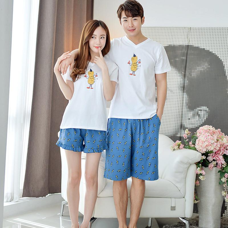 韩雪青青2016新款夏花生卡通可爱韩国情侣睡衣男短袖薄款家居服女套装