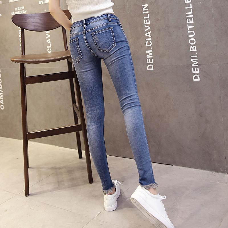 韩雪青青2016夏弹力紧身九分小脚牛仔裤女韩国百搭中