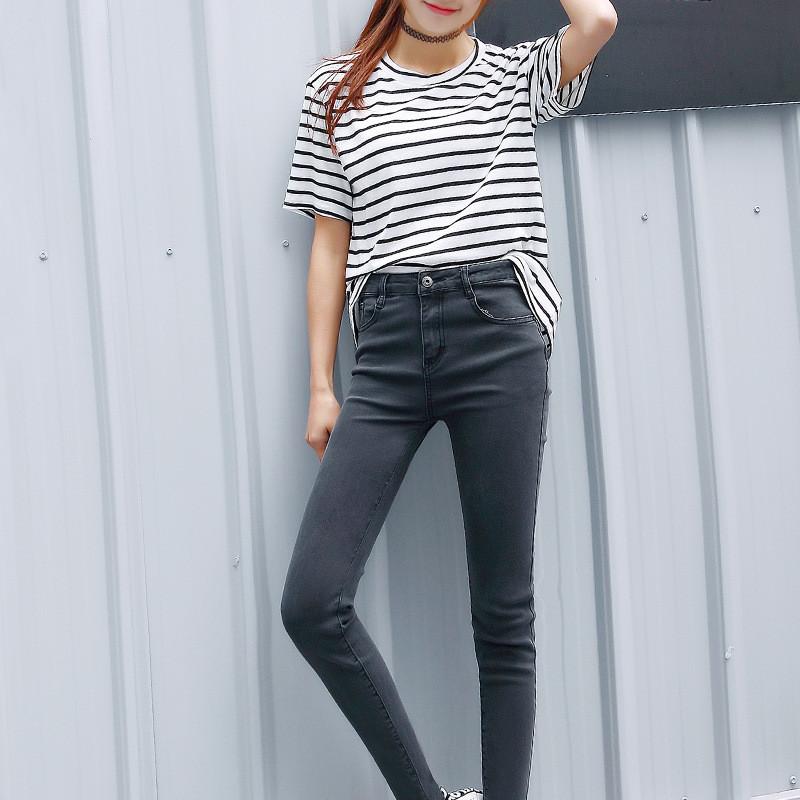 韩雪青青2016黑色牛仔裤女小脚韩版长裤显瘦紧身弹力