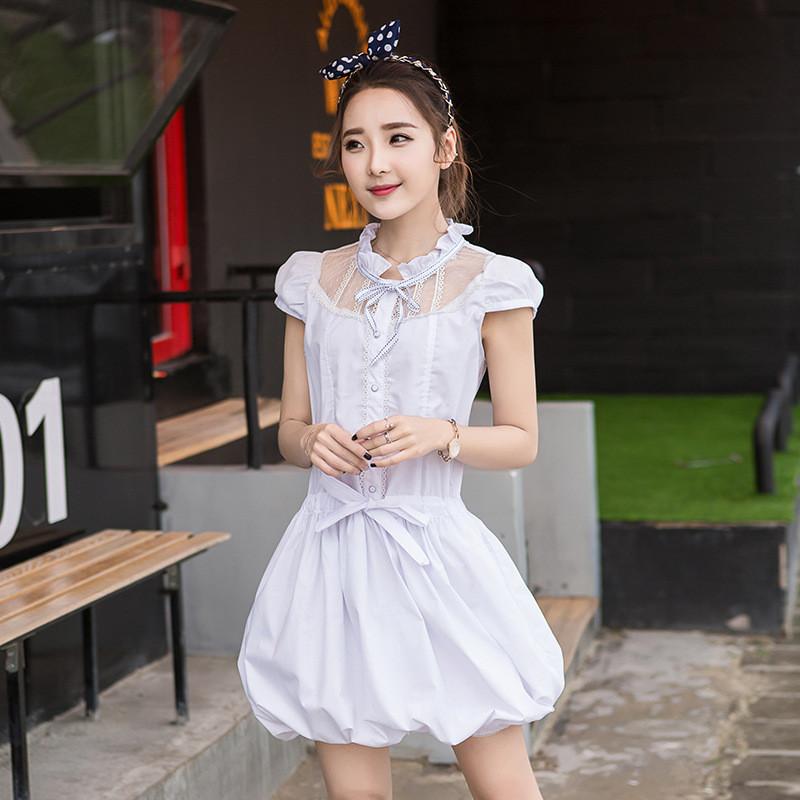 韩雪青青2017#甜美夏装新款韩版纯白可爱淑女公主裙初高中学生连衣裙