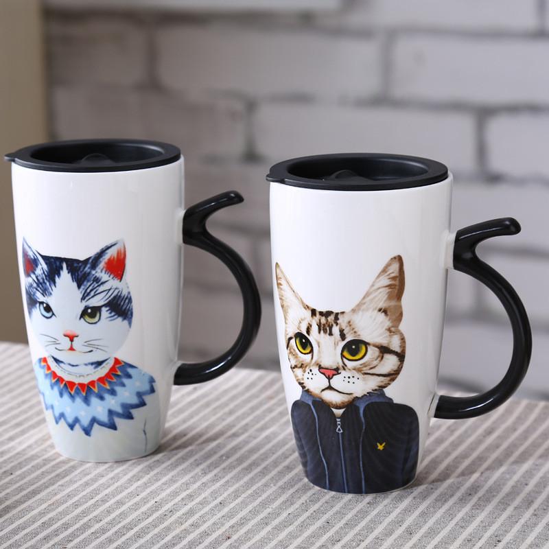 猫先生系列带盖勺陶瓷杯 卡通猫咪造型马克杯牛奶咖啡杯子 送男女朋友