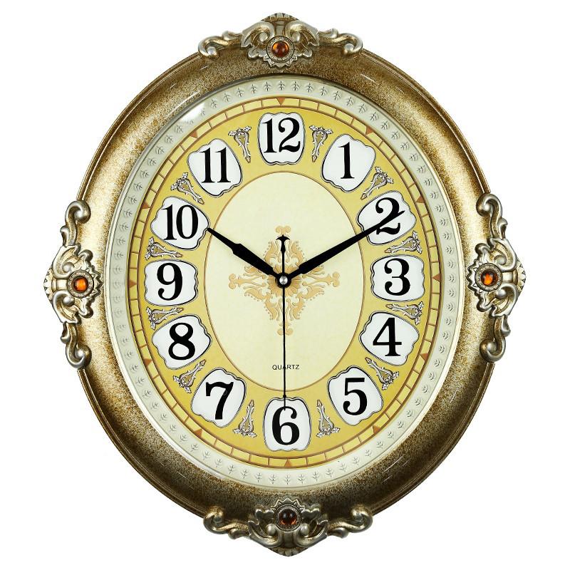 德力时 20英寸欧式复古客厅创意静音挂钟 家居客厅卧室时钟 艺术钟表