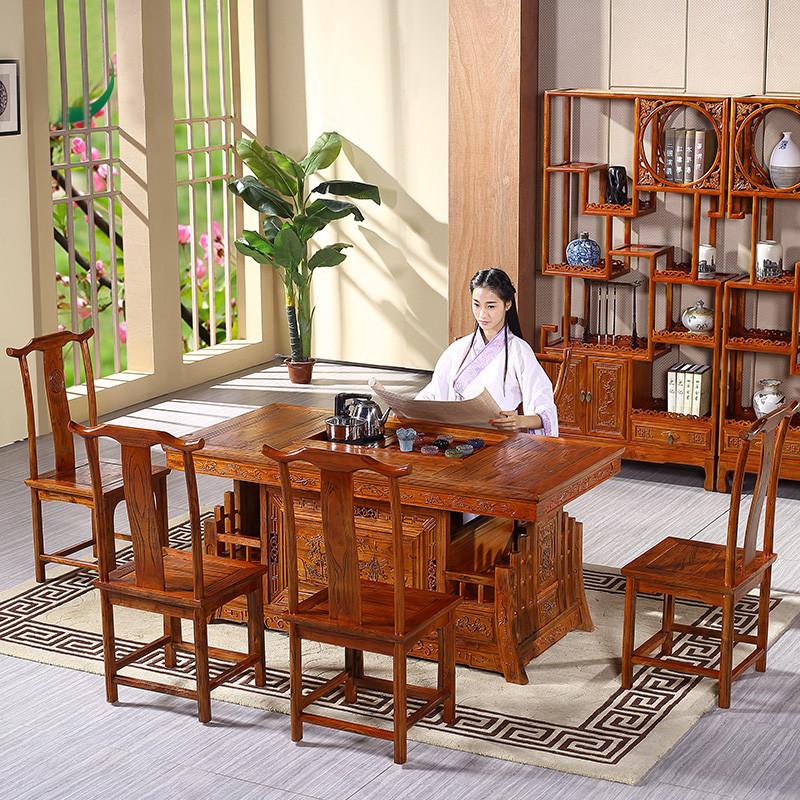 香格里湾 实木茶桌茶几茶台 茶桌椅组合套装 功夫茶几