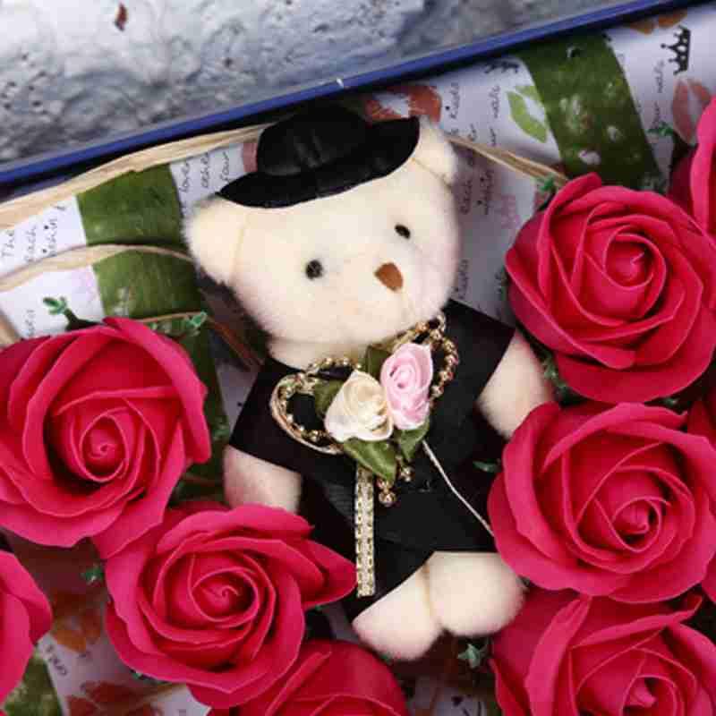 40号玫瑰花香皂花方形礼盒插花浪漫玫红色创意礼品送闺蜜 送朋友