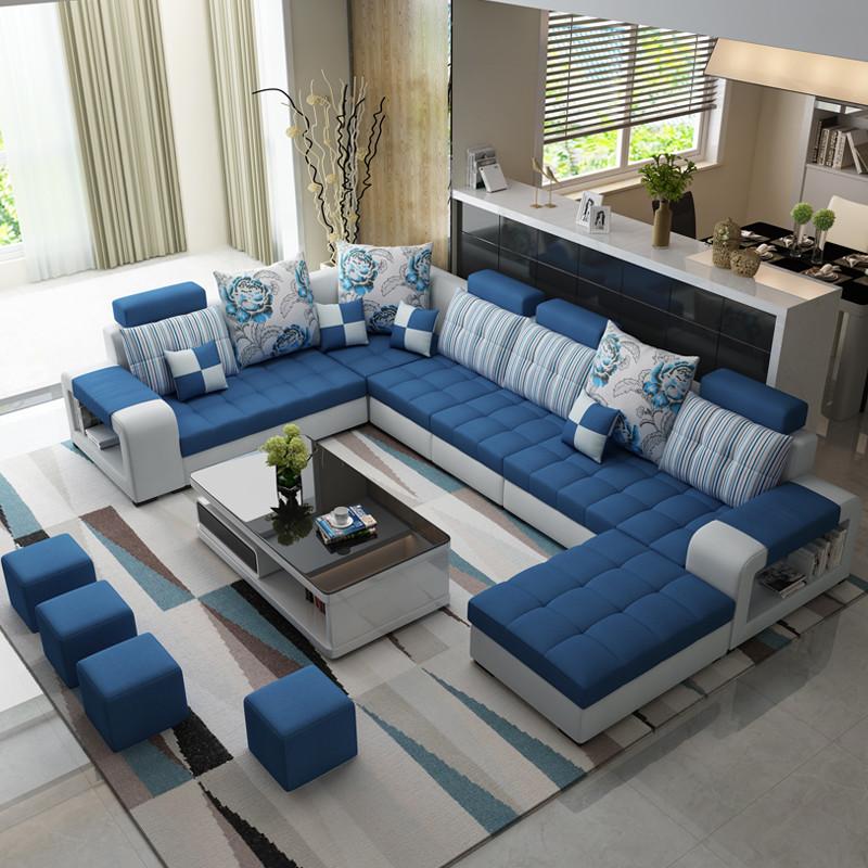 美系 布艺沙发客厅沙发组合简约现代u型转角家具六件套 沙发带凳子大