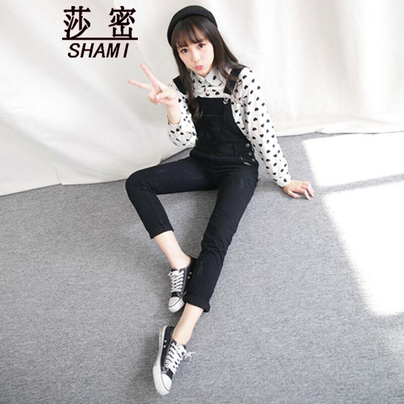 莎密2015秋季新款韩版黑色减龄学生学院风百搭可爱牛仔背带裤