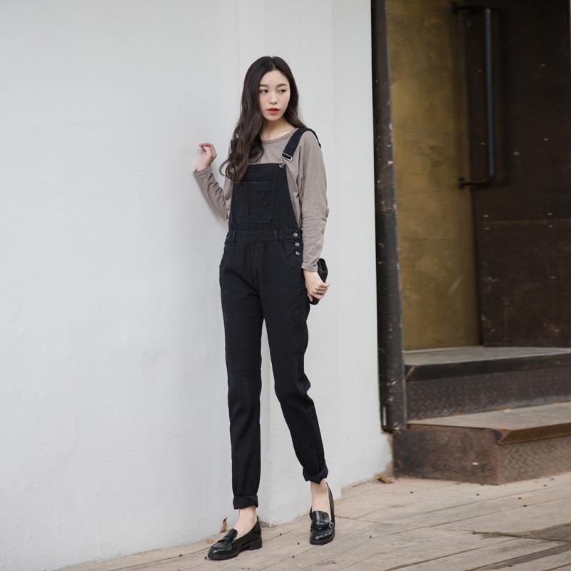 韩版学院风bf黑色休闲背带裤牛仔连体裤女 莎