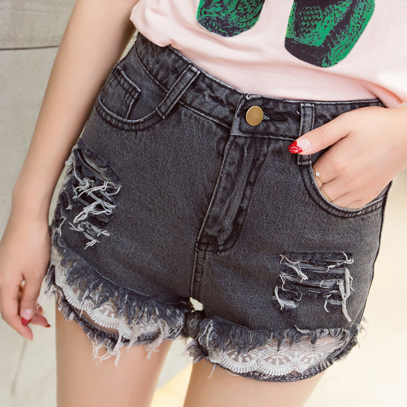 实拍高中新款韩版短裤现货女夏款高中生牛仔个花边鸭河图片