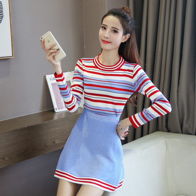 娇诗朵新款秋冬季毛衣新款两件套时尚套装打底衫针织衫 针织裙子