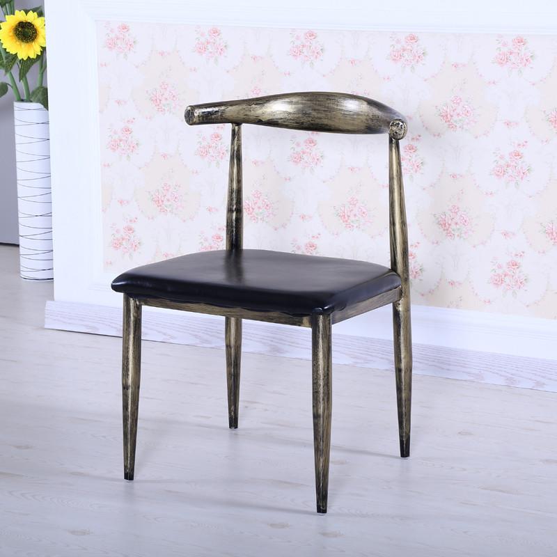 唐傲 欧式复古铁艺做旧椅子美式酒店咖啡厅餐厅牛角椅