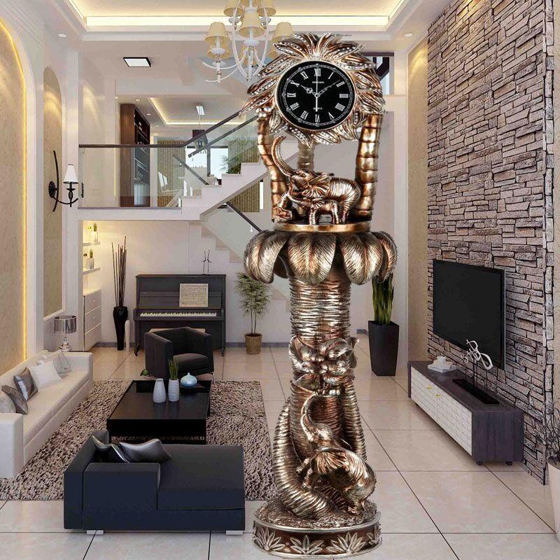 新奥泰佳欧式复古落地钟现代客厅高档酒店别墅立钟家居装饰品