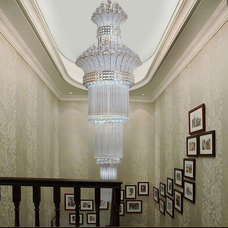 新奥泰佳别墅复式水晶灯吊灯楼梯灯长吊灯复式楼梯灯客厅吊灯楼中楼灯