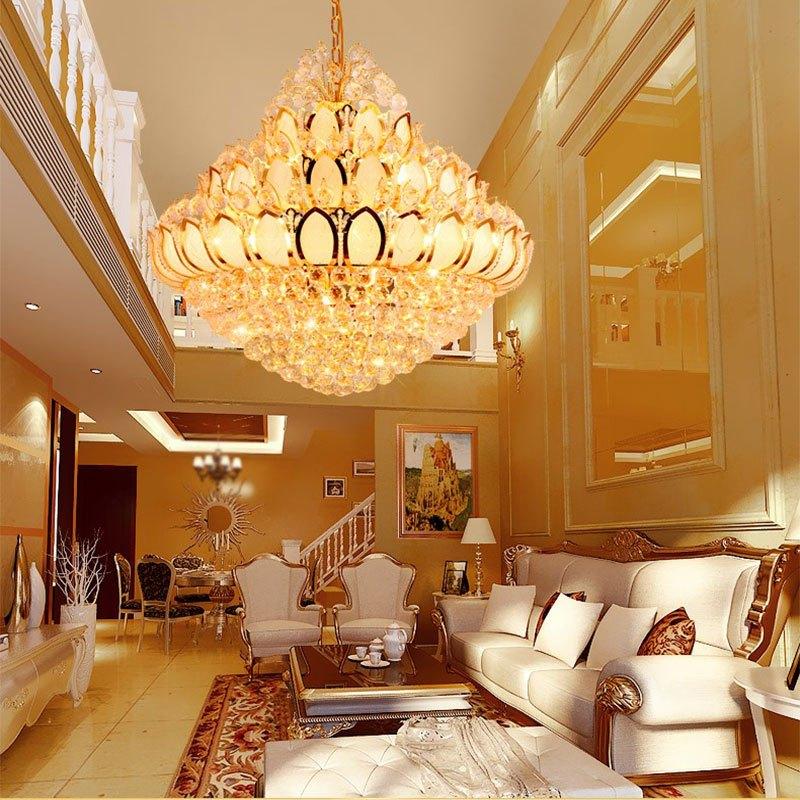 新奥泰佳复式楼客厅水晶大吊灯别墅楼梯灯长吊灯水晶灯酒店图片