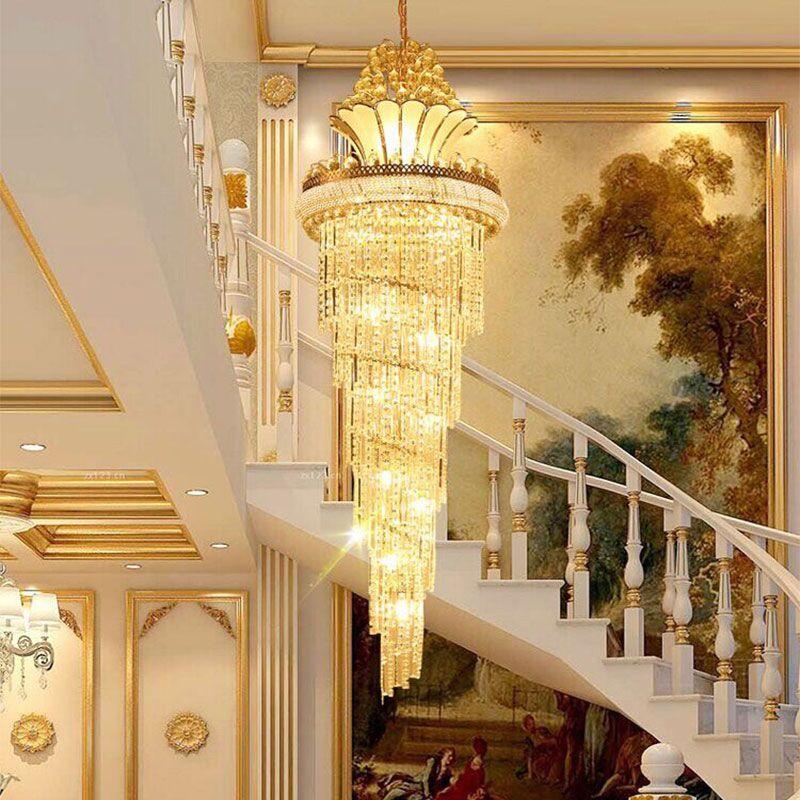 新奥泰佳欧式大气金色复式楼水晶吊灯别墅客厅楼梯间灯具旋转楼梯灯长图片