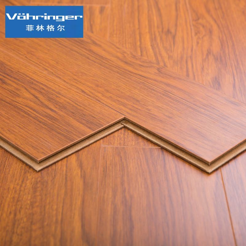 菲林格尔 浮雕德国木地板柚木高密度纤维板强化复合地板 r-435