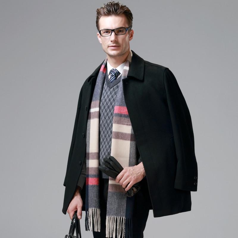 恒源祥男羊绒大衣_恒源祥羊毛呢大衣男士春季中长款羊绒大衣男中老年毛呢子男装外套
