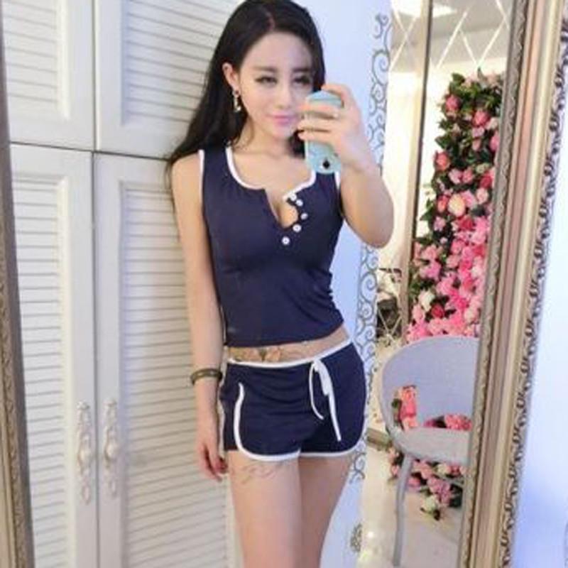 安美媛依时尚瑜伽服运动休闲套装2016夏季性感露脐短背心 松紧腰短裤
