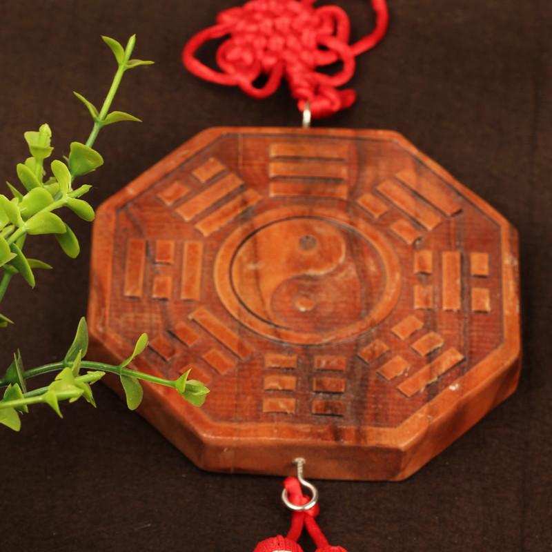 吟秀 木工艺品家居装饰品 天然桃木太极八卦镜挂件木雕阴阳鱼挂饰桃