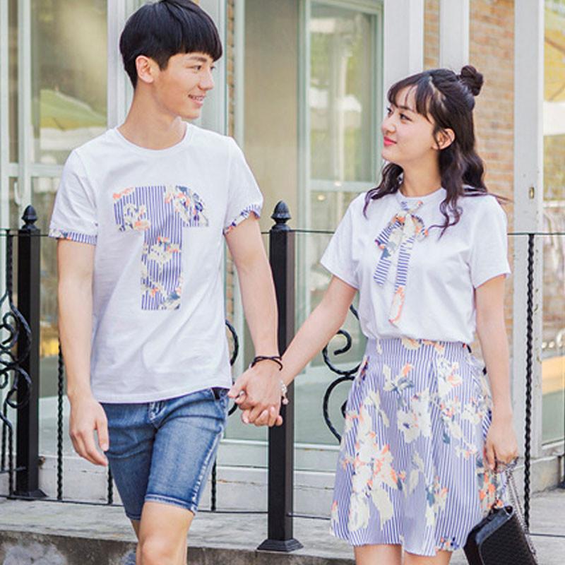 韩妃图2017夏季新款韩版男短袖T恤女棉麻连衣