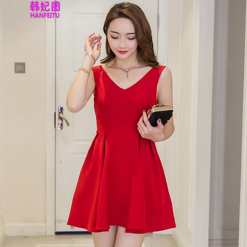 韩妃图新款韩版红色裙子无袖海边度假沙滩短裙修身露背雪纺连衣裙