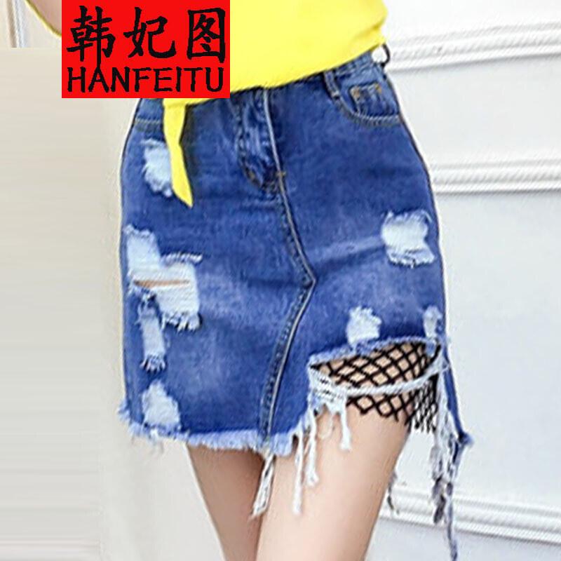 韩妃图20172017夏破洞网格高腰牛仔a字裙短裙