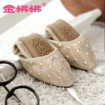 金狒狒新款时尚平底蛋卷鞋柔软牛筋底轻便防滑铆钉款大小码女鞋