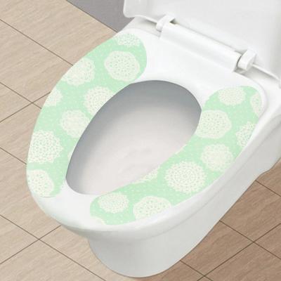 秀净 一对装粘贴式马桶贴马桶垫卫生坐厕垫防水无痕座便套可水洗化纤面料颜色随机