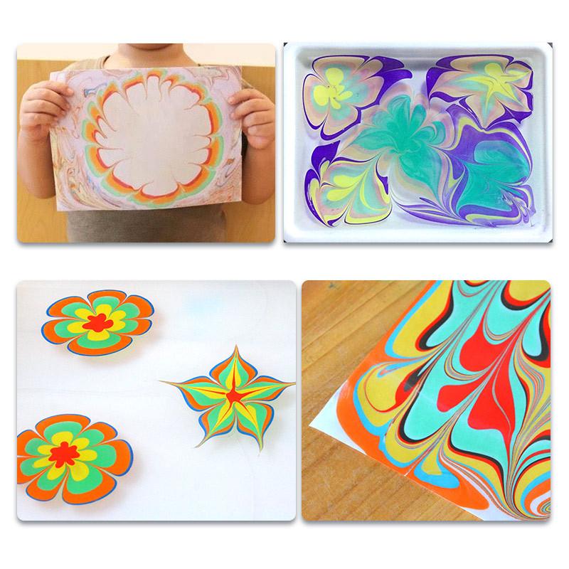 聪乐美湿拓画水影画儿童颜料安全无毒水洗涂鸦初学者浮水画画水拓画套